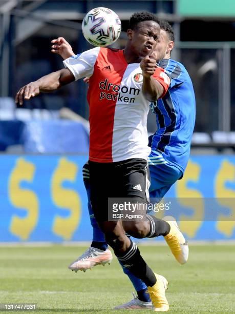 Luis Sinisterra of Feyenoord, Noussair Mazraoui of Ajax during the Dutch Eredivisie match between Feyenoord and Ajax at de Kuip on May 9, 2021 in...