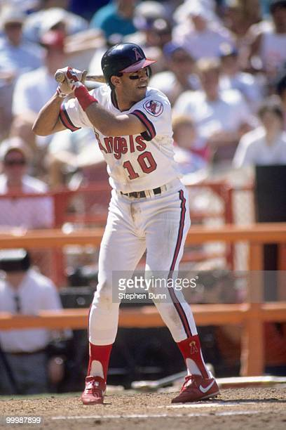Luis Sojo of the California Angels bats during the game against the Seattle Mariners at Anaheim Stadium on August 4 1991 in Anaheim California