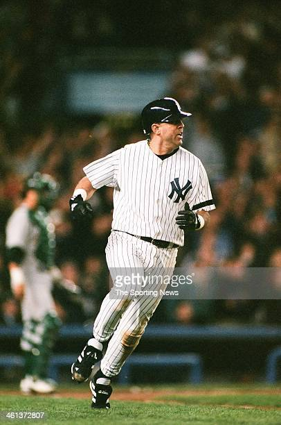 Luis Sojo of the New York Yankees during Game Three of the American League Division Series against the Oakland Athletics on October 6 2000 at Yankee...