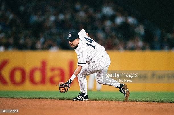 Luis Sojo of the New York Yankees fields during Game Three of the American League Division Series against the Oakland Athletics on October 6 2000 at...