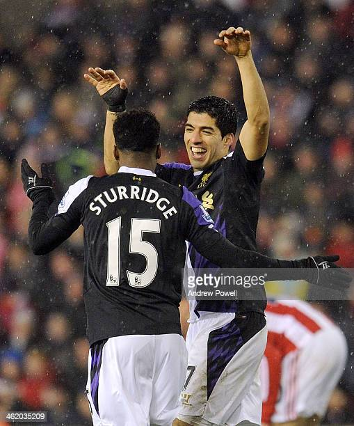Luis Suarez and Daniel Sturridge of Liverpool celebrates together after a goal during the Barclays Premier Leauge match between Stoke City and...