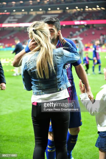 Luis Suarez and his wife Sofia Balbi are seen at the Spanish Copa del Rey Final match between Barcelona and Sevilla at Wanda Metropolitano on April...