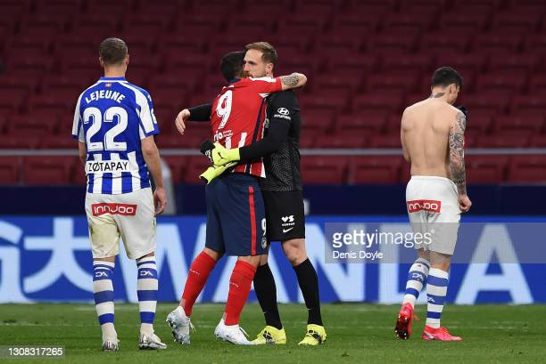 Luis Suarez and Jan Oblak of Atletico de Madrid celebrate their side's victory after the La Liga Santander match between Atletico de Madrid and...