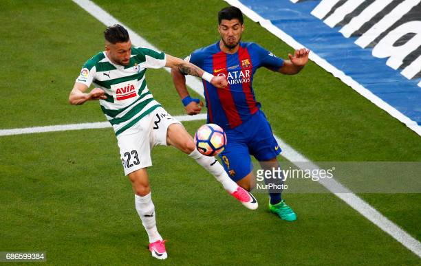 Luis Suarez and Junca during La Liga match between FC Barcelona v SD Eibar in Barcelona on May 21 2017