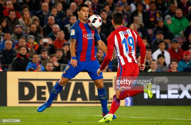 Luis Suarez and Lucas Hernandez during the 1/2 final King Cup match between FC Barcelona v Atletico de Madrid in Barcelona on February 07 2017 Photo...