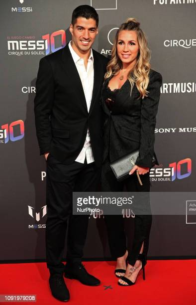 Luis Suarez and Sofia Balbi during the presentation at the Camp Nou of the Cirque du Soleil show inspired by Leo Messi Messi10 by Cirque du Soleil to...