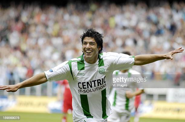 Luis Suarez celebrates a goal during the match between FC Utrecht and FC Groningen on May 17 2007 at Utrecht Netherlands