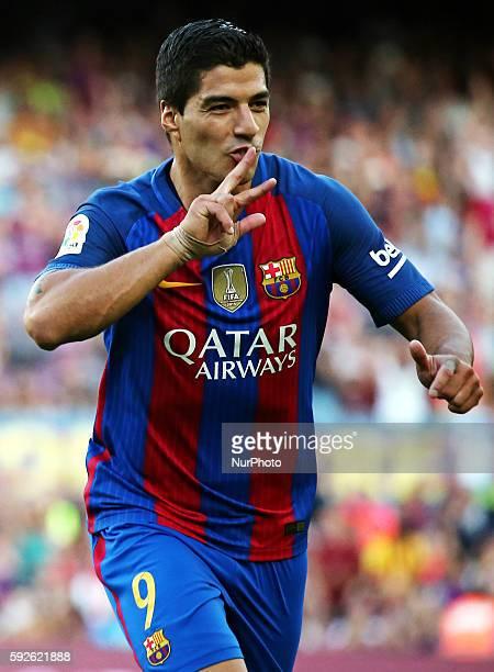 Luis Suarez celebration during La Liga match between FC Barcelona v Betis in Barcelona on August 20 2016