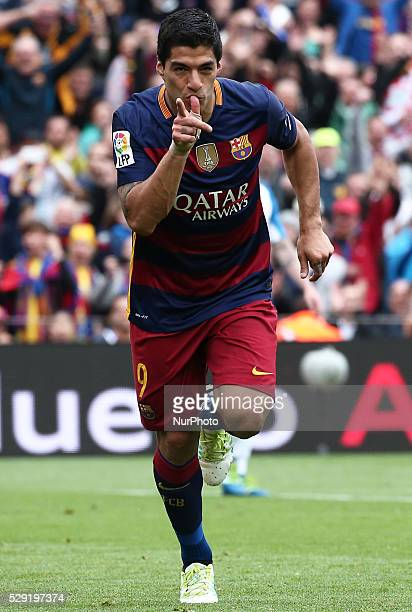 Luis Suarez celebration during the match between FC Barcelona and RCDE corresponding to the week 37 of the spanish league played at the Camp Nou on...