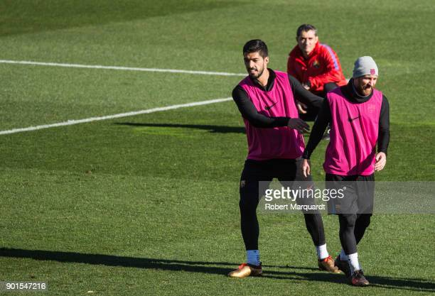 Luis Suarez Coach Ernesto Valverde and Leo Messi are seen training during an open public session held at the Barcelona Ministadium on January 5 2018...
