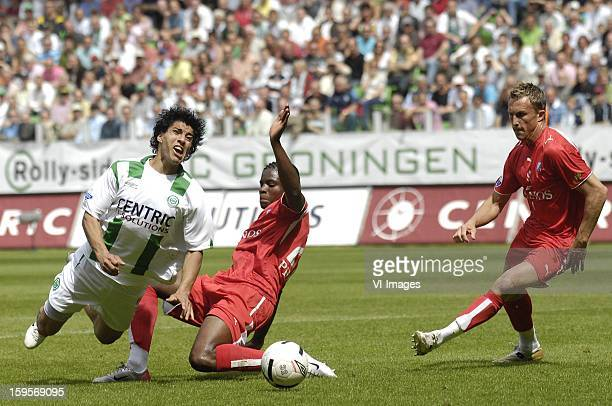 Luis Suarez dives after a tackle of Francis Dockoh during the match between FC Groningen and FCUtrecht on May 21 2007 at Groningen Netherlands