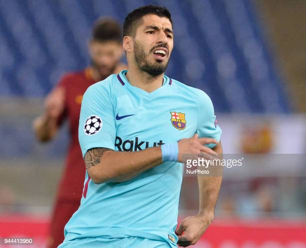 Luis Suarez during the UEFA Champions League quarter final match between AS Roma and FC Barcelona at the Olympic stadium on April 10 2018 in Rome...
