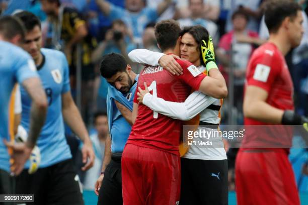 Luis Suarez Fernando Muslera and Edinson Cavani of Uruguay national team after the 2018 FIFA World Cup Russia Quarter Final match between Uruguay and...