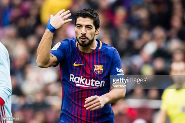 Luis Suarez from Uruguay of FC Barcelona arguing with the referee during the La Liga match between FC Barcelona v Celta de Vigo at Camp Nou Stadium...