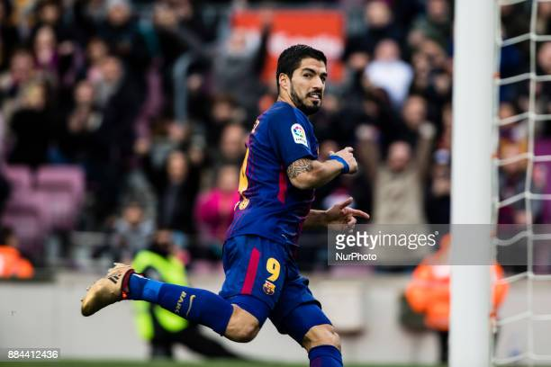 Luis Suarez from Uruguay of FC Barcelona celebrating his goal during the La Liga match between FC Barcelona v Celta de Vigo at Camp Nou Stadium on...
