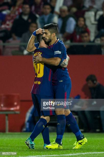 Luis Suarez from Uruguay of FC Barcelona celebrating his goal with Leo Messi from Argentina of FC Barcelona during the La Liga match between Girona...