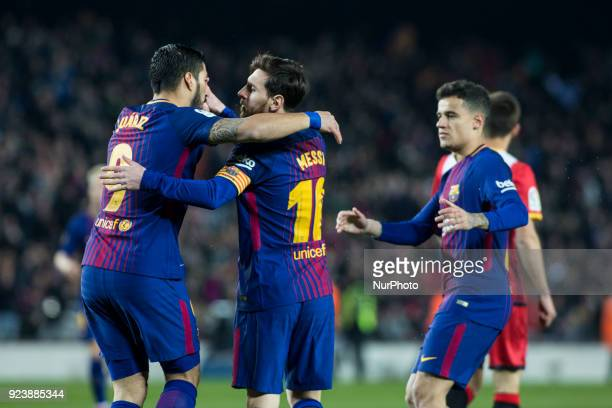 Luis Suarez from Uruguay of FC Barcelona celebrating his goal with Leo Messi from Argentina of FC Barcelona and Phillip Couthino from Brasil of FC...