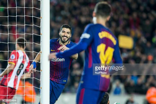 Luis Suarez from Uruguay of FC Barcelona celebrating his goal with Phillip Couthino from Brasil of FC Barcelona during La Liga match between FC...