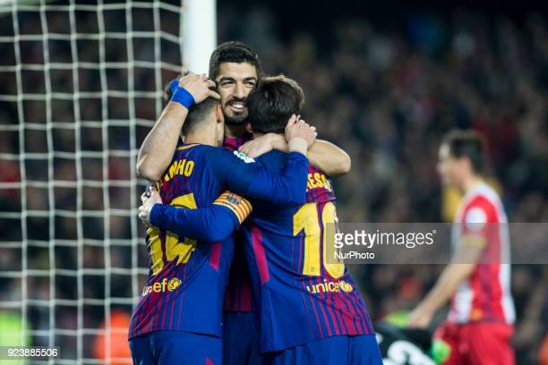 Luis Suarez from Uruguay of FC Barcelona celebrating his goal with Phillip Couthino from Brasil of FC Barcelona and Leo Messi from Argentina of FC...