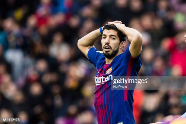 Luis Suarez from Uruguay of FC Barcelona lamenting a goal missed during the La Liga match between FC Barcelona v Celta de Vigo at Camp Nou Stadium on...