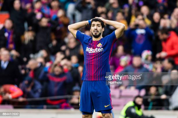 Luis Suarez from Uruguay of FC Barcelona lamenting a missed goal during the La Liga match between FC Barcelona v Celta de Vigo at Camp Nou Stadium on...