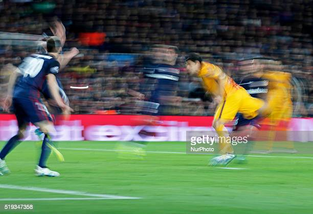 Luis Suarez goal during the match between FC Barcelona and Atletico de Madrid corrresponding to the first leg of the 1/4 final of the UEFA Champions...