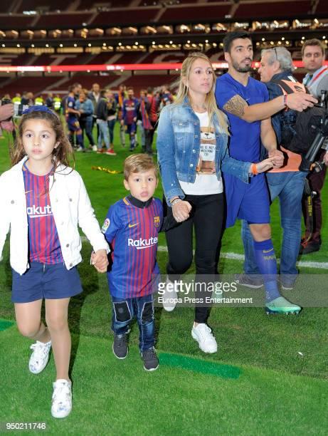 Luis Suarez his wife Sofia Balbi and their children Delfina Suarez and Benjamin Suarez are seen at the Spanish Copa del Rey Final match between...