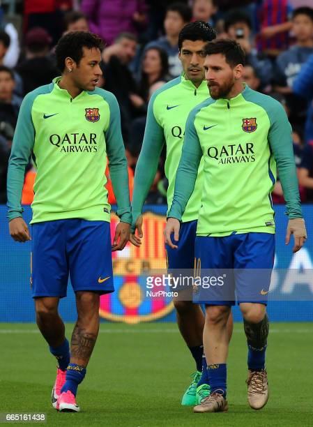 Luis Suarez Leo Messi and Neymar Jr during La Liga match between FC Barcelona v Sevilla CF in Barcelona on April 05 2017