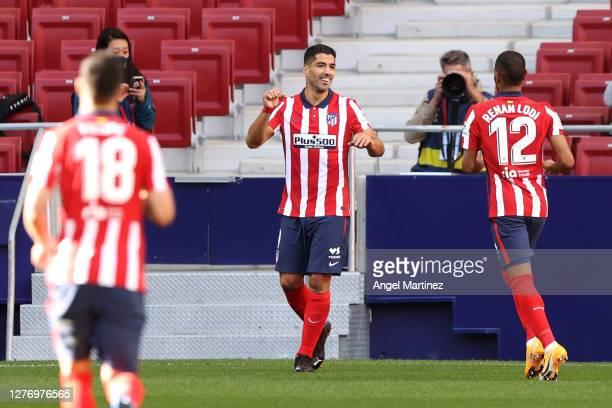 Luis Suarez of Atletico de Madrid celebrates after scoring his sides fifth goal during the La Liga Santander match between Atletico de Madrid and...