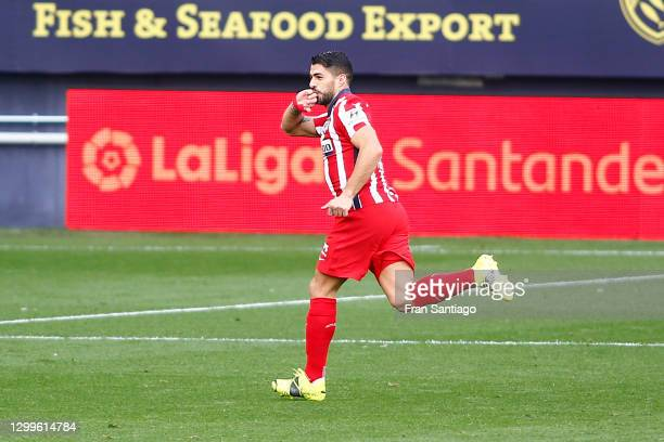 Luis Suarez of Atletico de Madrid celebrates after scoring their side's first goal during the La Liga Santander match between Cadiz CF and Atletico...