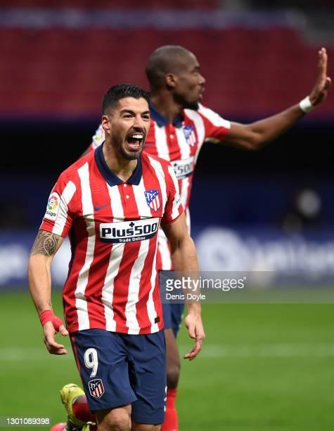 Luis Suarez of Atletico de Madrid celebrates after scoring their team's second goal during the La Liga Santander match between Atletico de Madrid and...