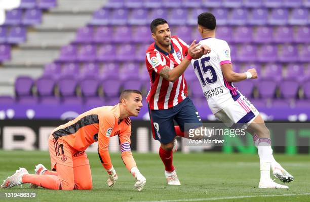 Luis Suarez of Atletico de Madrid celebrates after scoring their side's second goal during the La Liga Santander match between Real Valladolid CF and...