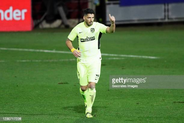 Luis Suarez of Atletico Madrid celebrates 1-1 during the La Liga Santander match between Eibar v Atletico Madrid at the Estadio Municipal de Ipurua...