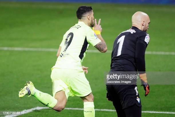 Luis Suarez of Atletico Madrid celebrates 1-2 during the La Liga Santander match between Eibar v Atletico Madrid at the Estadio Municipal de Ipurua...