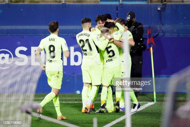 Luis Suarez of Atletico Madrid celebrates 1-2 with Yannick Carrasco of Atletico Madrid, Lucas Torreira of Atletico Madrid, Joao Felix of Atletico...