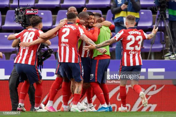 Luis Suarez of Atletico Madrid celebrates after scoring his sides first goal during the La Liga Santander match between Real Valladolid CF and...