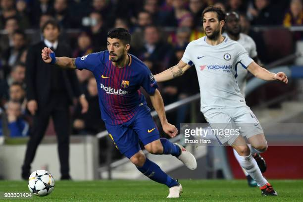 Luis Suarez of Barcelona and Cesc Fabregas of Chelsea compete for the ball during the UEFA Champions League Round of 16 Second Leg match FC Barcelona...