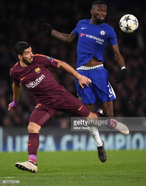 Luis Suarez of Barcelona battles with Antonio Rudiger of Chelsea during the UEFA Champions League Round of 16 First Leg match between Chelsea FC and...