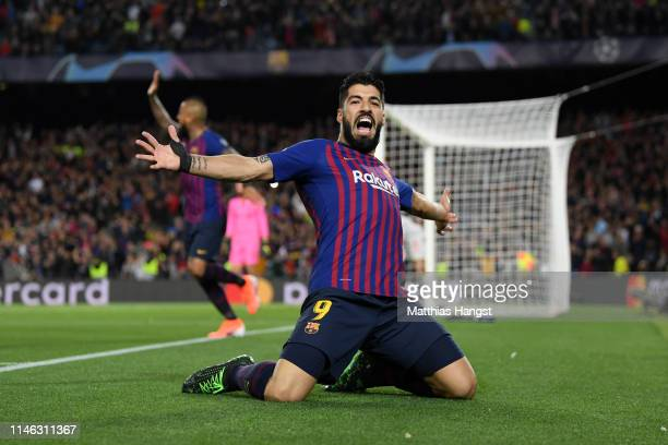 Luis Suarez of Barcelona celebrates after he scores his sides first goal during the UEFA Champions League Semi Final first leg match between...
