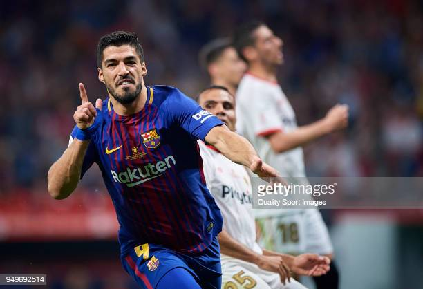 Luis Suarez of Barcelona celebrates after scoring a goal during the Spanish Copa del Rey Final match between Barcelona and Sevilla at Wanda...