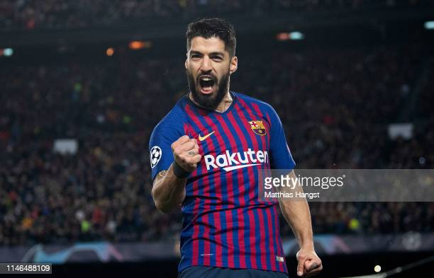 Luis Suarez of Barcelona celebrates after scoring his team's first goal during the UEFA Champions League Semi Final first leg match between Barcelona...
