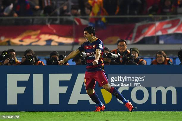 Luis Suarez of Barcelona celebrates after scoring his team's second goal during the FIFA Club World Cup Final between River Plate and FC Barcelona at...