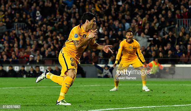 Luis Suarez of Barcelona celebrates as he scores their second goal with a header during the UEFA Champions League quarter final first leg match...