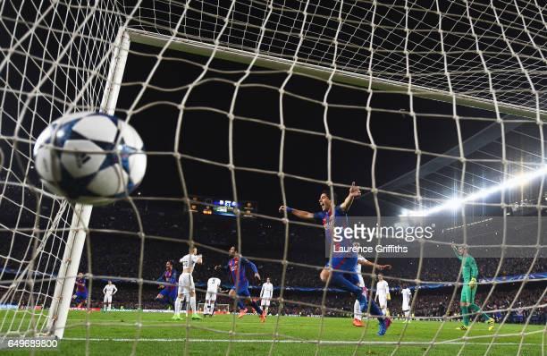 Luis Suarez of Barcelona celebrates as Sergi Roberto of Barcelona scores their sixth goal during the UEFA Champions League Round of 16 second leg...