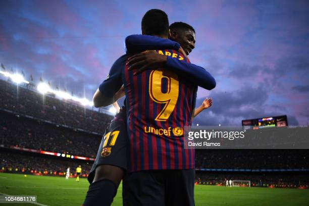 Luis Suarez of Barcelona celebrates scoring his sides fourth goal with Ousmane Dembele of Barcelona and completes his hat trick during the La Liga...