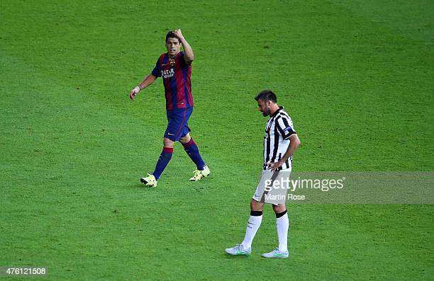 Luis Suarez of Barcelona celebrates scoring his team's second goal during the UEFA Champions League Final between Juventus and FC Barcelona at...