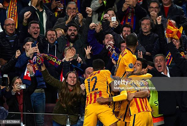 Luis Suarez of Barcelona celebrates scoring his team's second goal with his teammates during the UEFA Champions League Quarter Final first leg match...
