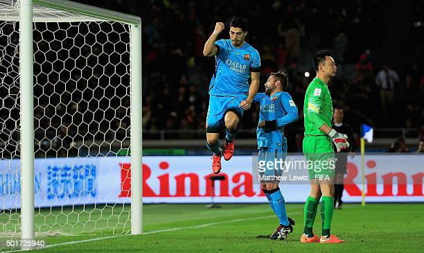 Luis Suarez of Barcelona celebrates scoring his third goal during the FIFA Club World Cup Semi Final match between Barcelona and Guangzhou Evergrande...