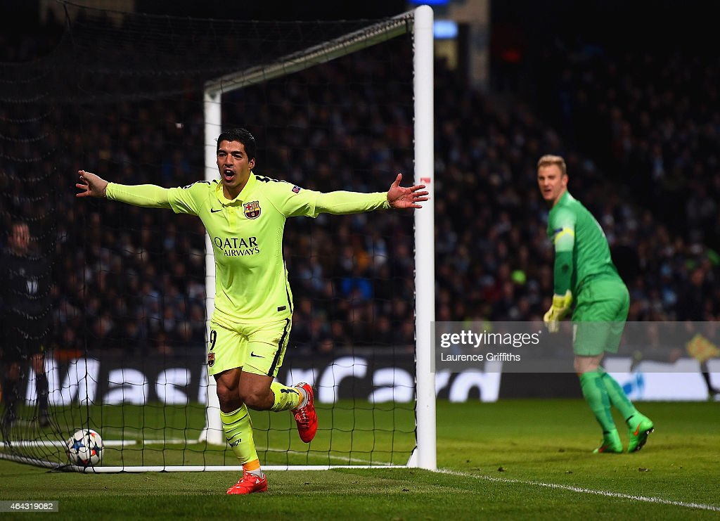 Luis Suarez of Barcelona celebrates scoring their second goal during the UEFA Champions League Round of 16 match between Manchester City and Barcelona at Etihad Stadium on February 24, 2015 in Manchester, United Kingdom.
