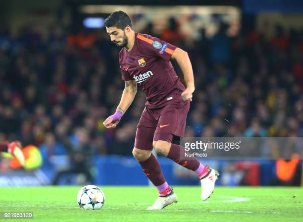 Luis Suarez of Barcelona during the Champions League Round of 16 match between Chelsea and Barcelona at Stamford Bridge London England on 20 Feb 2018